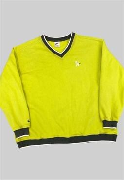 Vintage Nike Sweatshirt 1990s Nike Swoosh Neon Jumper (L)