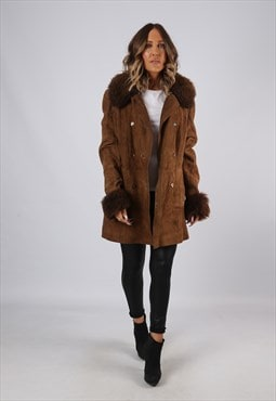 Faux Sheepskin (Acrylic) Suede Leather  Coat UK 12 - 14 KJBC
