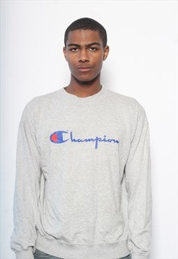 Vintage Champion Logo Long Sleeved T-Shirt Grey