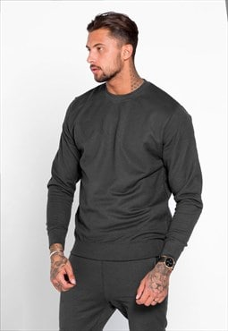 Staple Blank Plain Jumper Sweater - Charcoal Grey