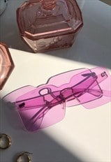 Y2K Style Purple Perspex Oversized Rectangle Sunglasses