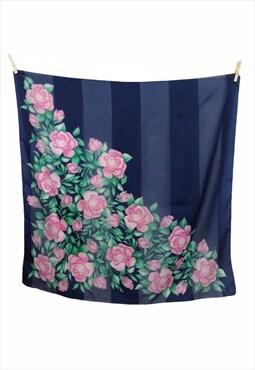 Vintage 70s Mod Floral Rose Striped Square Bandana Scarf