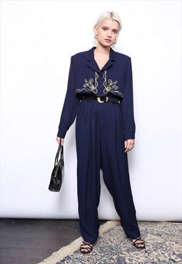 Vintage 80s Navy Gold Embellished Shirt Party Jumpsuit