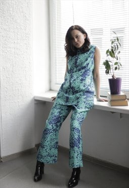 Vintage 80's Blue/Green Top and Trousers Co-ordinate