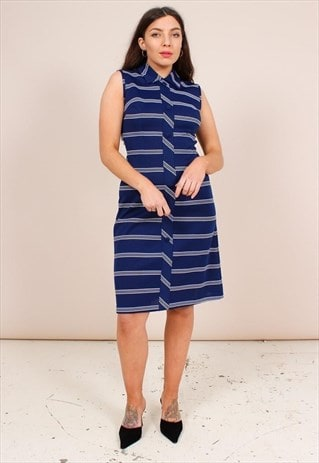VINTAGE 70S NAVY BLUE STRIPE PRINT DRESS