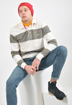 Vintage striped long sleeve polo shirt