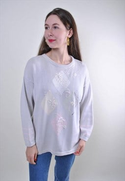 80s retro floral sweater, vintage white flowers embroidery