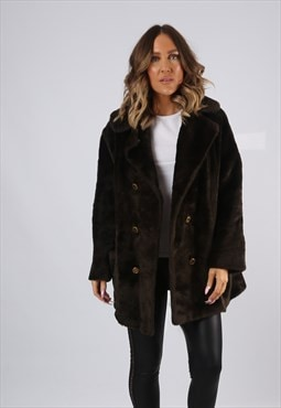 Faux Fur Coat Jacket Short Mid Vintage UK 16 (KJ7W)