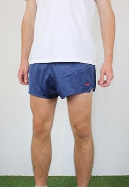 Vintage Active Short Shorts in Blue with Logo, Drawstring