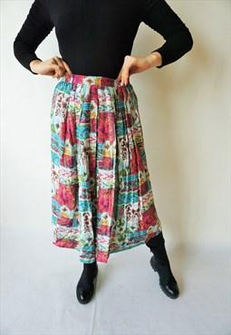 Vintage High Waist Summer Skirt Skirts Midi Floral 90s