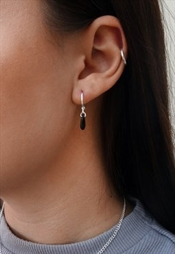 Black Teardrop Silver Hoops