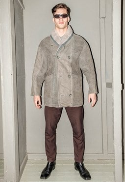 Vintage grey double-breasted sheepskin coat
