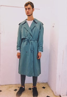 Vintage Turquoise Trench Coat
