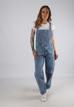 Vintage Denim Dungarees Wide Tapered Leg UK 10 Small (JRBO)
