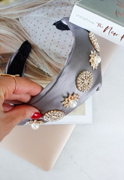 Light Grey Plaited Rhinestone Faux Pearl Jewelled Head Band