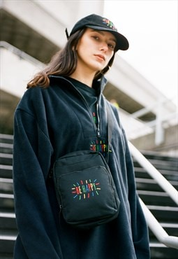 Fleece In Black With Be Happy Embroidery