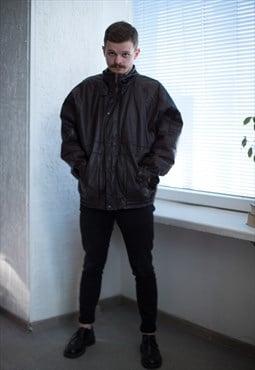 Vintage 80's Brown Leather Warm Jacket