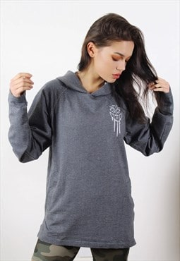 Greasy Nun Grey Long Fit Hoodie