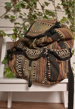 Vintage 90s Festival Backpack in Boho Woven Stripe Fabric