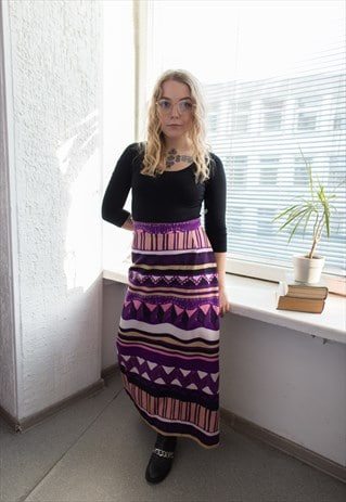 VINTAGE 70'S PURPLE PATTERNED HIGH WAISTED BOHEMIAN SKIRT