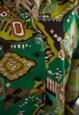 VINTAGE 60'S GREEN PATTERNED MIDI LONG SLEEVED DRESS