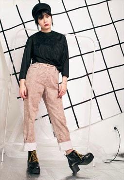 90s vintage mom jeans w brown dotty print