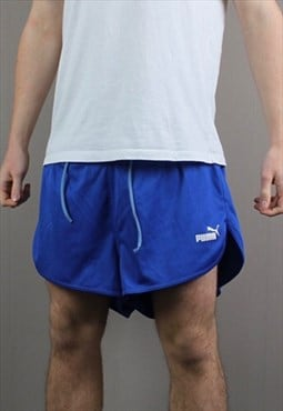 Vintage Puma Shorts in Navy Blue with No Pockets and Embroid