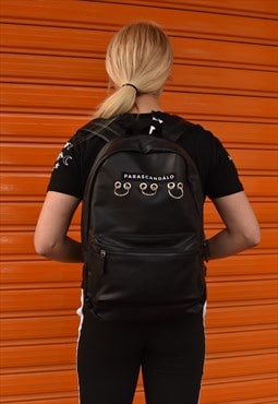 Logo backpack faux leather