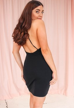 Vintage 90s Black Backless Mini Dress