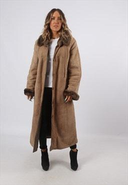 Sheepskin Shearling Suede Long Coat UK 14 - 16 (J8BD)