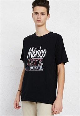 90s Vintage Black Crew Mexico City Neck T-Shirt