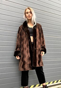 Vintage 90s Brown Leopard Print Coat