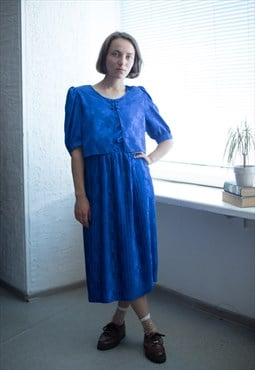 Vintage 80's Midi Bright Blue Short Sleeved Pleated Dress