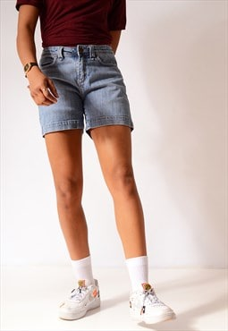 Vintage Lee Hemmed Denim Utility Shorts Mid Blue