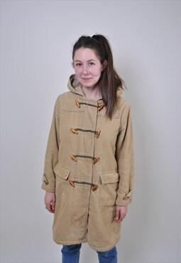90s Corduroy coat, vintage beige unisex spring jacket