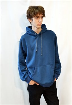 Men Cotton Fleece Pullover sweatshirt hoodies in blue color