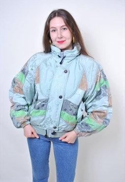 Vintage women blue Italian ski suit jacket