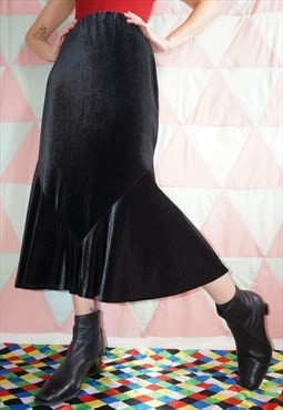 Vintage 90s Black Velvet Mermaid Midi Skirt