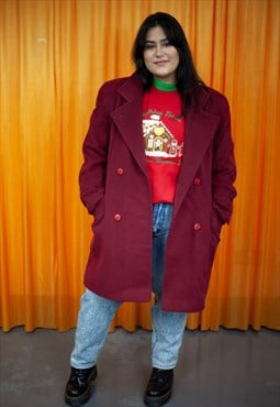 Vintage 90s Coat Burgundy Red Blazer Pea Coat Winter