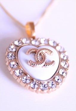Swarovski CC White Heart Necklace