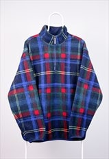 Vintage Izod Fleece Tartan 1/4 Zip Pullover Large