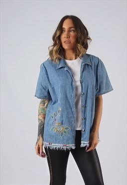 Denim Shirt Oversized Fitted Embroidered Floral UK 18  (DK4F
