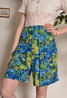Vintage Tropical Hawaiian Print Festival Shorts in Turquoise