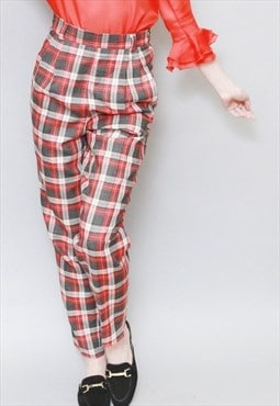 Vintage 1980's Red And Grey Tartan Wool Trousers