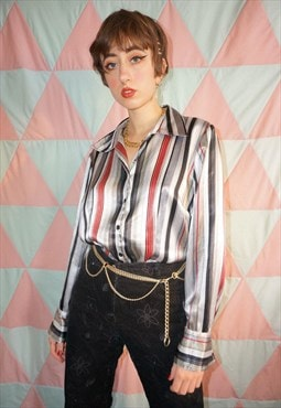 Vintage 90s Red / Black / Grey Pinstripe Shiny Satin Shirt