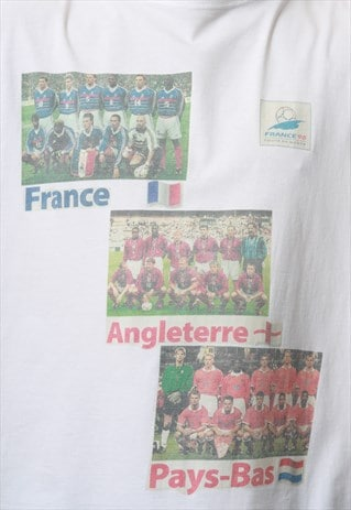 90s FRANCE98 Vintage Oldschool Cotton T-Shirt 16830