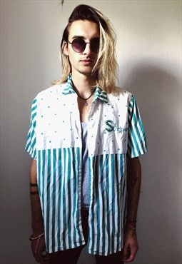 Vintage Green/White Striped Starry Patterned Shirt