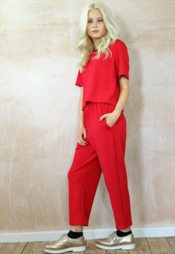 Red Textured Crop Peg Pants Co-ordinates
