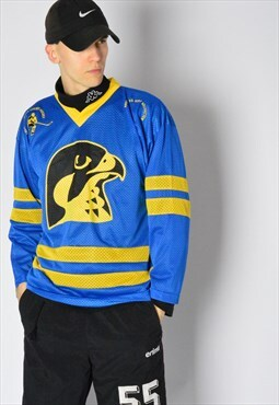 Vintage 90s Blue Sweden Eagle Hockey Sports Jersey Shirt