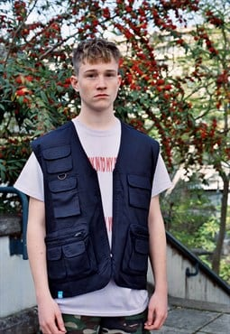 Navy Blue Utility Vest With Woven Label Details
